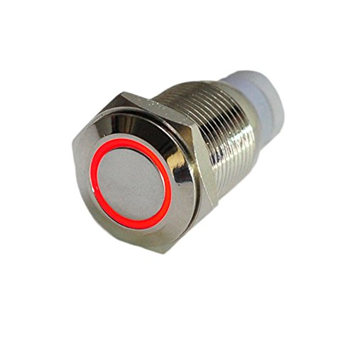 HOTSYSTEM 16mm 12V Metall Reset Taster LED Beleuchtet Drucktaster Druckknopf für Auto KFZ Rot