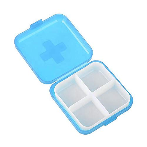 DDU Pastillero Cajas de Joyería Organizador Pastillas Medicamentos Dividido para Almacenamiento 4 Compartimentos Portátil Azul