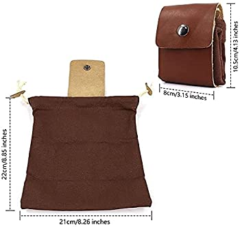 Duyifan Canvas Fruit Picking Bag, Leather Waxed Canvas Pouch, Outdoor Foraging Bag with Drawstring(Collapsible), for Hiking Beachcombing Camping with Leather Cover and Buckle (Brown)