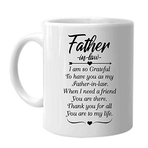 Taza de café del padre - suegro Estoy muy agradecido de tenerte como mi suegro. Cuando necesito un amigo, tú estás ahí: sarcasmo inspirador La mejor idea de regalo de cumpleaños para el día de Navidad
