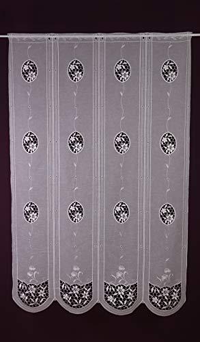 Plauener Spitze Raffrollo nach Maß Lamellen- Clip- Panneau Scheibengardine Raffgardine Batist Optik Landhaus Look Höhe 145 cm - Breite der Gardine durch Stückzahl in 24 cm Schritten wählbar weiß