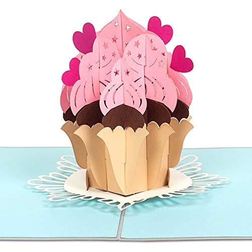 PaperCrush® Pop-Up Karte Geburtstag Cupcake [NEU!] - 3D Geburtstagskarte mit Muffin für Beste Freundin, Frau oder Mädchen - Handgemachte Glückwunschkarte für Kinder und Frauen