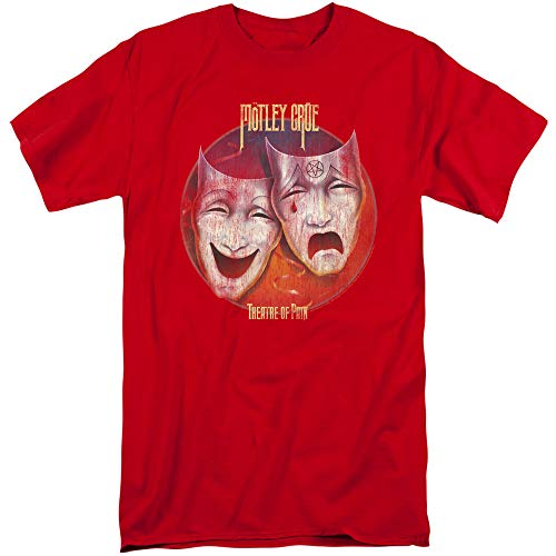 Motley Crue Theatre of Pain Unisex Adult Tall T Shirt for Men and Women, 3X-Large Red