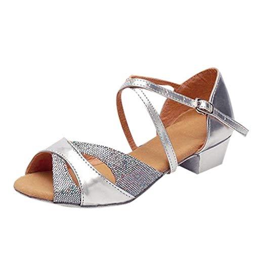 Tanzschuhe Damen Standard Latin Dance Schuhe Satin Sandalen Party Ballsaal Salsa Tango Tanzschuhe Weiche Sohle für Mädchen Gr 24-40 Celucke (Silber, 29 EU)
