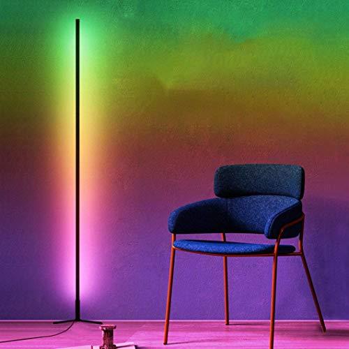 WYFX Lámpara de pie LED uplighter lámpara de pie decoloración Estilo, decoloración con Control Remoto RGB, para la decoración del Dormitorio de la Sala de Estar, Negro, Carcasa Blanca, Negro