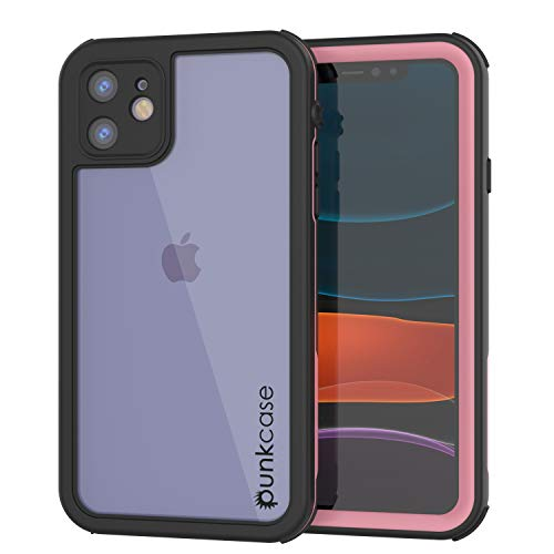 Punkcase 11 Waterproof Case [Rapture Series] Protective IP68 Certified Full Body Cover W/Built in Screen Protector [Clear Back] for Apple iPhone 11 (2019) (6.1') (Pink)