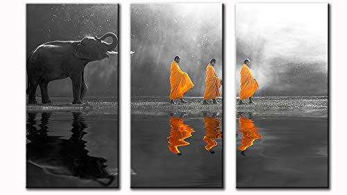 DJSYLIFE-Black and White Wall Art Canvas Prints Thailand Elephant Walk Behind Monks Yellow Frock Zen Wall Painting Artwork Wall Decor Buddhism Posters for Zen Office Yoga Massage Meditation Room