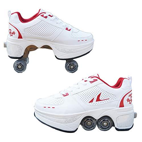 HealHeatersR Automatische Walking Schoenen Onzichtbare Multifunctionele Vervorming Roller Schoenen Dubbele Rij Vervormde Wiel Licht Gewicht Skate Schoenen Geschikt voor Beginners Schaatsen
