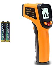 KETOTEK Laser thermometer pistool Infrarood thermometer Digitaal Geen contact Voedselthermometers FDA -50 ℃ - 600 ℃ (-58-1112 ℉) IR-thermometer Professionele temperatuur-tester-recorder (geel)