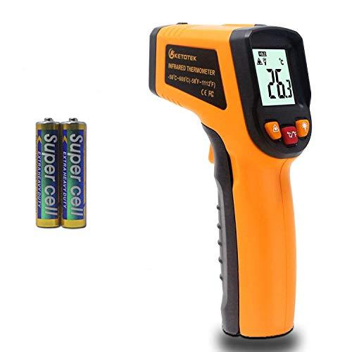 KETOTEK Termómetro Infrarrojo Sin Contacto Digital Pistola Termometro Laser Cocina Comida Piscina -50℃~600℃ (-58~1112℉) Medidor de Temperatura Laser (NO para humanos)