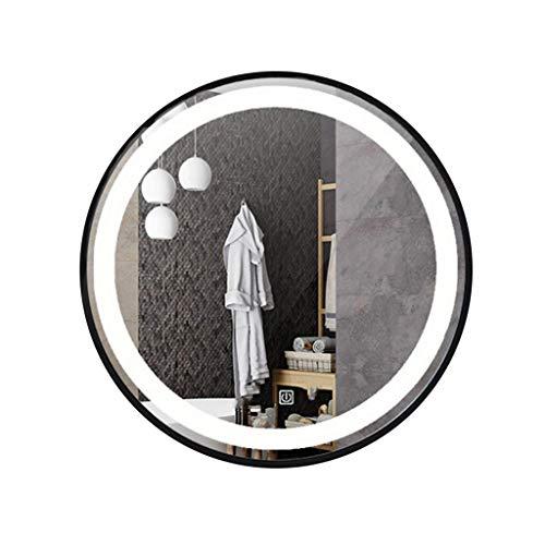 DERUKK-TY Espejo de pared para el hogar y maquillaje, espejo de pared con marco de pared elegante, moderno y clásico, marco de metal para interiores (color dorado 2, tamaño: 80 x 80 cm)