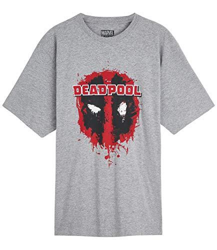 Marvel Camisetas Hombre, Camiseta Hombre Negra y Gris Manga Corta Diseño Deadpool, Merchandising Oficial Regalos para Hombre y Adolescente Talla M-2XL