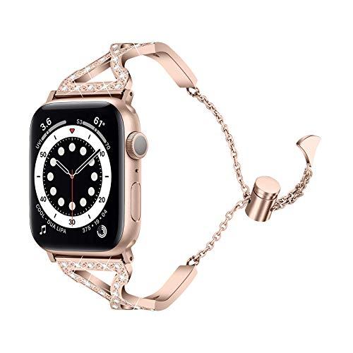 Fhony Correa Compatible con Apple Watch 38mm 40mm 42mm 44mm Acero Inoxidable Ajustable Correa de Repuesto Correa Crystal Rhinestone Diamond para Apple Watch SE/6/5/4/3/2/1,Vintage Gold,42mm