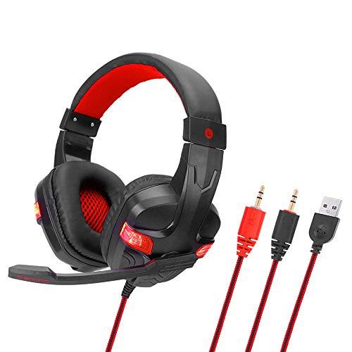 SY860MV Gaming headset 3,5 mm kabel over oor hoofdtelefoon ruisonderdrukking hoofdtelefoon met microfoon LED-licht volumeregeling AUX + USB voor desktop-pc