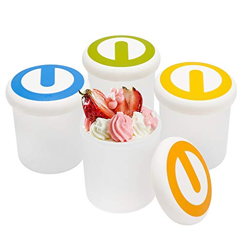 Ice Cream Containers 7 oz, Beasea 4pcs Ice Cream Yogurt Cups Ice Cream Freezer Containers with Lids, Reusable Frozen Dessert Containers for Ice Cream, Meal Prep, Soup and Food Storage