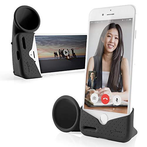 Bone Horn Stand, Acoustic Sound Amplifier Phone Stand Audio Dock Portable Speaker Desktop Cradle Holder for iPhone 8 7 6 6s - Black (Small) (Renewed)