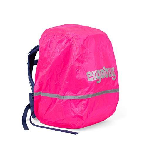 ergobag Regencape - für Schulrucksäcke, wasserdicht, Leuchtfarben, Reflektoren, Gummizug - Pink - Pink