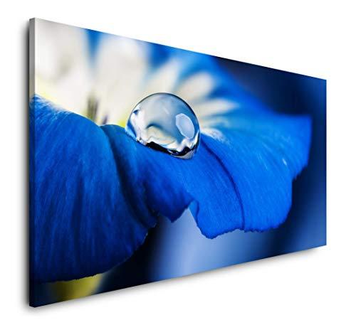 Paul Sinus Art Blaue Blume 120x 60cm Panorama Leinwand Bild XXL Format Wandbilder Wohnzimmer Wohnung Deko Kunstdrucke