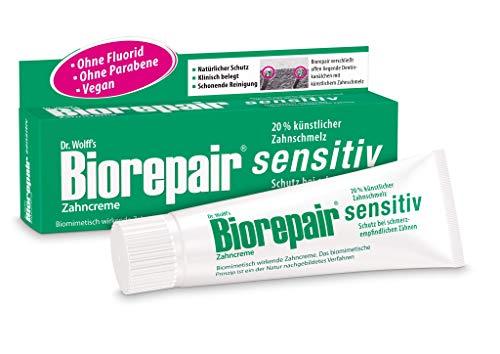 Biorepair Zahncreme sensitiv, 2 x 75 ml - Ohne Fluorid und Parabene | Schutz bei schmerzempfindlichen Zähnen