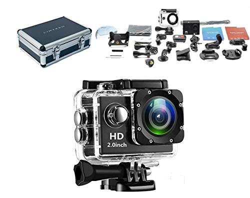 LPX-16 « EXPLORE » - Superbe caméra d'action étanche 16 MP 4K HD WIFI avec étui de protection rigide, mini trépied et carte mémoire | Kit de montage Inc. | Go Pro immédiatement |