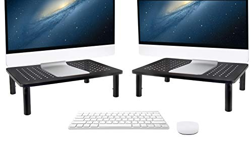Tislly Adjustable Monitor Stand Riser for i Mac, PC, Laptop, Notebook and Printer, Computer Stand of Black Metal, 2 Pack