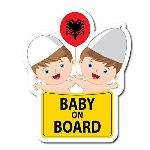 Alb Trend Albanian Flag Eagle | Baby on Board | Flag of Albania | Car Bumper Vinyl Window Auto 5' Decal (2 pcs)