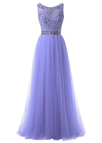 Callmelady Hoher Hals Tüll Abendkleider Lang Elegant für Hochzeit Ballkleider Damen mit Schlüsselloch Zurück (Lavendel, EU32)