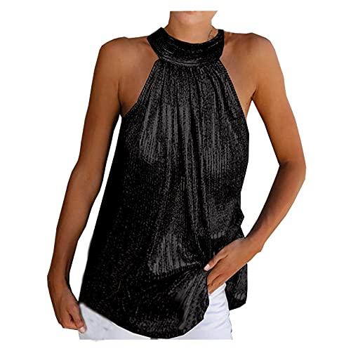 Amandaz Damen Sexy Ärmellos Shirt Crop Tops Mode Rundhals Bluse Mode Camisole Tank Modisches Neckholder-Top mit Pailletten
