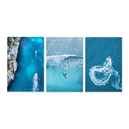 DMPro Scandinavian Style Landscape Art Leinwand Sea Art Wandbilder Acrylfarben Kunstwerk für Wohnwände Kunst für Wohnzimmer Schlafzimmer 40x60cmx3 No Frame