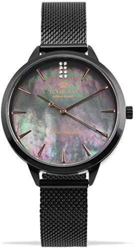 LOUIS XVI Dauphiné 1031 - Reloj de pulsera para mujer (correa de acero, nácar, analógico, cuarzo, acero inoxidable, malla de acero inoxidable)