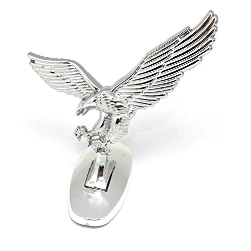 Ocamo 3D Emblem Car Logo Front Hood Ornament Car Cover Chrome Eagle Badge for Auto Car