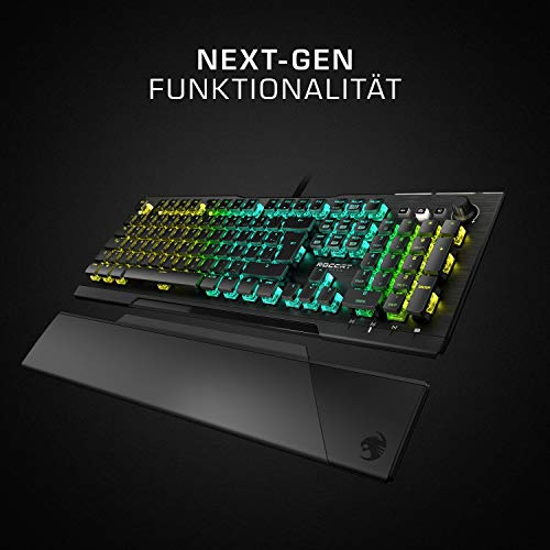 Roccat Vulcan Pro - Optische RGB Gaming Tastatur, AIMO LED Einzeltastenbeleuchtung, Titan Switch Optical, Aluminiumoberfläche, Multimedia-Tasten, Handballenauflage, schwarz