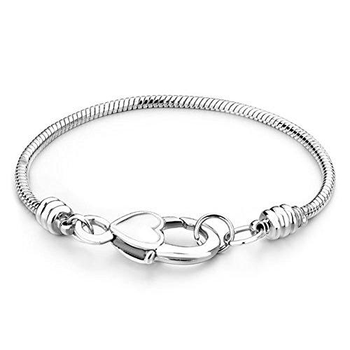 Pugster plateado Master de arranque en chapado en corazón Lock Cadena de Serpiente Pulsera Pandora charms Beads