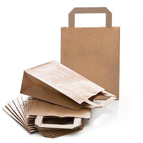 50 kleine braune natur Kraftpapier Papiertüte Papiertasche Geschenktüte Papierbeutel 18 x 8 x 22 cm Geschenkbeutel Verpackung Geschenk Mitgebsel give-away Tüte