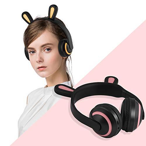 ALLBEST Auriculares Bluetooth Cat Ear, Auriculares inalámbricos con luz LED de micrófono, Auriculares Bluetooth cómodos para Colocar sobre la Oreja para iPhone/iPad/Smartphones/Laptop/PC/TV (D, 1PCS)