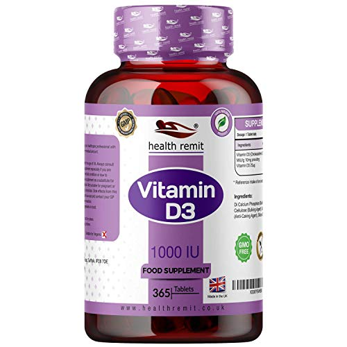 Health Remit's Vitamin D 1000IU - One a Day Vitamin D3 Supplement | VIT D Cholecalciferol | Easy Swallow Micro Tablets for Men and Women | Vegetarian | 365 Days Supply | Made in The UK