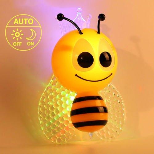 SuperglockT LED Nachtlicht für Kinder Baby Süße Biene Form Kinderzimmer Automatisch Steckdosenlampe mit Lichtsensor Babyzimmer Schlafzimmer Nachtlampe Stimmungslicht Geschenk