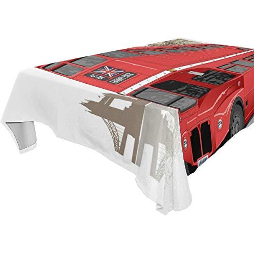TIZORAX Vintage London Red Bus Wasbaar Polyester Tafelkleed Tafelkleed voor Keuken Eetkamerfeesten Bruiloft, 54