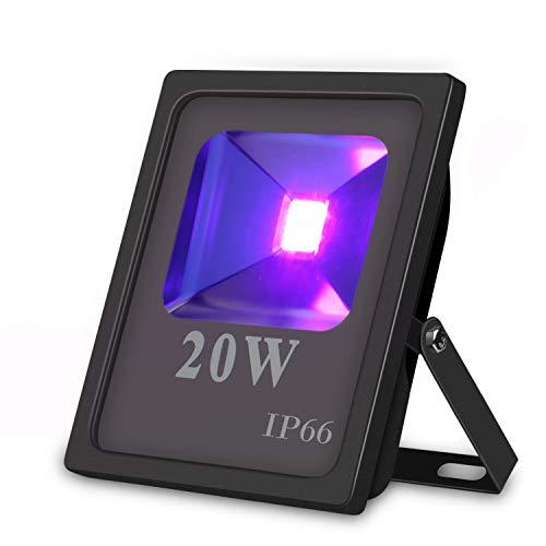 UV LED Flutlicht, Hohe Leistung 20W UV Blacklight 85V-265V AC IP66 Wasserdicht für Partys, Aushärtung, Kleber, Blacklight, Angeln, Aquarium mit Stecker