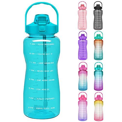 Opard Trinkflasche, BPA Frei Wasserflasche mit Strohhalm, 1-klick Verschluss Auslaufsichere Water Bottle, Zeitmarkierung Sportflasche (Hellblau)