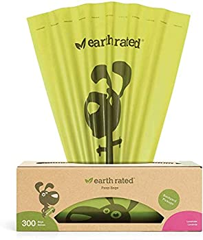 Earth Rated Dog Poop Bags 300 Dog Waste Bags on a Large Single Roll Grab and Go Guaranteed Leak-proof Lavender-scented Great for Backyard Pickups Each Poop Bag Measures 8 x 13 Inches