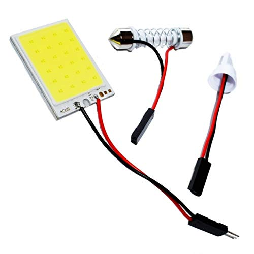 Luces $ luz De T10 Adaptador Base LED Panel Bombilla 24 Coche Cúpula Luz Auto Mapa Interior Lámpara de Lectura Techo Super Blanco de DC 12V (Emitting Color : White)