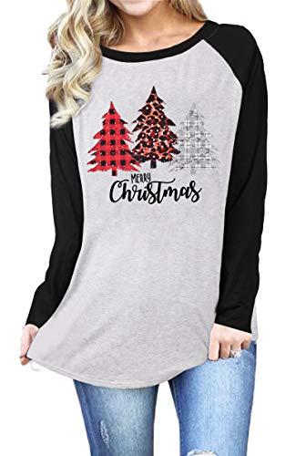 MNLYBABY Merry Christmas Plaid Leopard Tree Print Raglan T-Shirt Letter Print Long Sleeve Splicing Tops Tees Shirts for Women (Black, M)