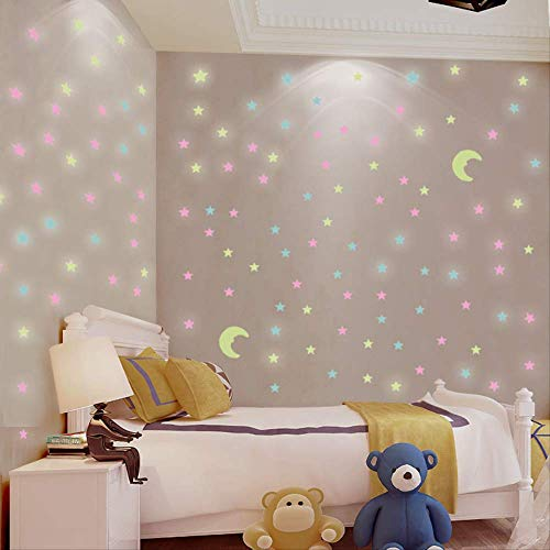 Creatieve Lichtgevende Ster Stickers Driedimensionale muur stickers verhuur kamer renovatie plafond plafond decoraties