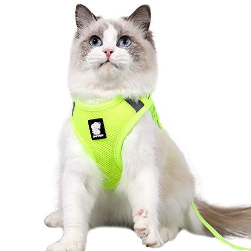 Dotoner Juego de arnés y Correa para Gato Ultraligero Suave y cómodo Chaqueta para Caminar para Gatos Acolchada a Prueba de Escapes Apto para Cachorros Conejo(Fluo,XS)
