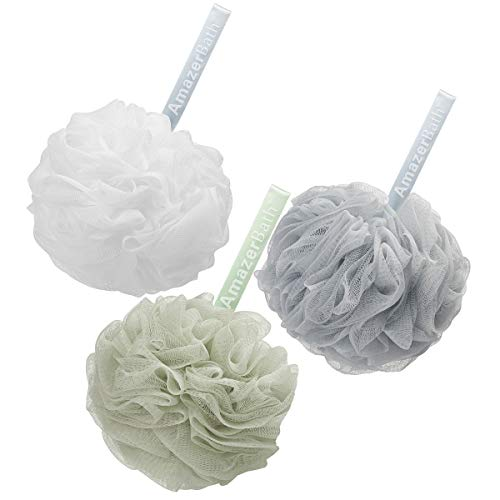 AmazerBath Shower Bath Sponge Shower Loofahs Balls 75g/PCS for Body Wash Bathroom Men Women  Set of 3 Nordic WhiteGreenGrey