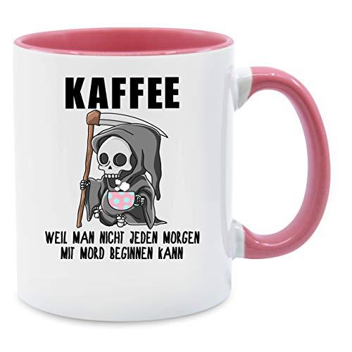 Tasse mit Spruch - Weil man nicht jeden Morgen mit Mord beginnen kann - Unisize - Rosa - spruchtasse mord - Q9061 - Kaffee-Tasse inkl. Geschenk-Verpackung