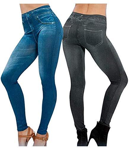 Dabuty Online, S.L. 2Pcs Leggings Vaqueros Pantalones Elásticos para Mujer Azul y Negro Leggins Jeggings