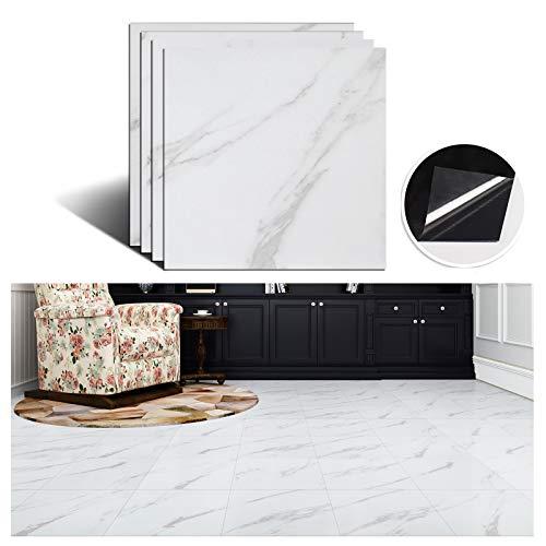 VEELIKE Selbstklebende Fliesen Fliesenaufkleber Küche Weiß Marmor Vinyl Fliesen Zum Aufkleben Bodenaufkleber Wandfliese Aufkleber Fliesen Bordüre Bekleben 30cm x 30cm 4 Stück
