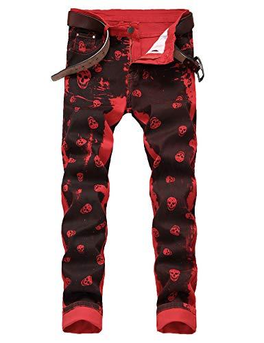 Men's Casual Color Printed Jeans Skinny Red Denim Pants (Red 9001, 32)
